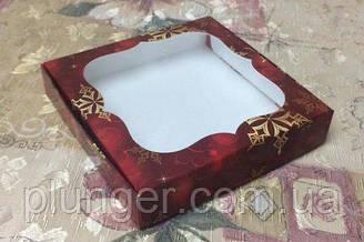 Коробка для печенья, пряников с окном, 15 см х 15см х 3 см, Красная новогодняя, мелованный картон