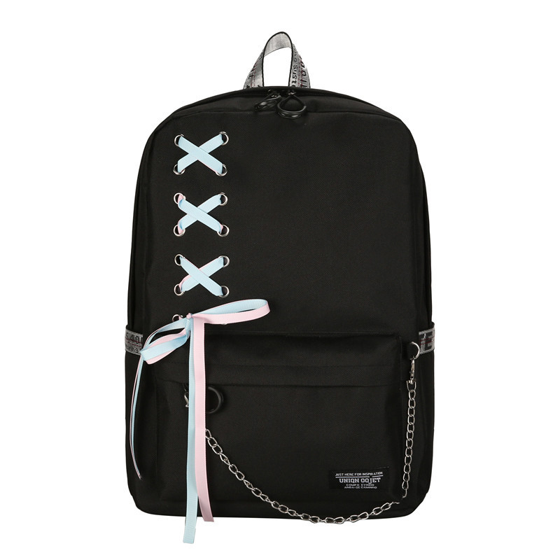 67af69231f53 ... Рюкзаки городские и спортивные; Черный рюкзак с лентами. Черный рюкзак  с лентами
