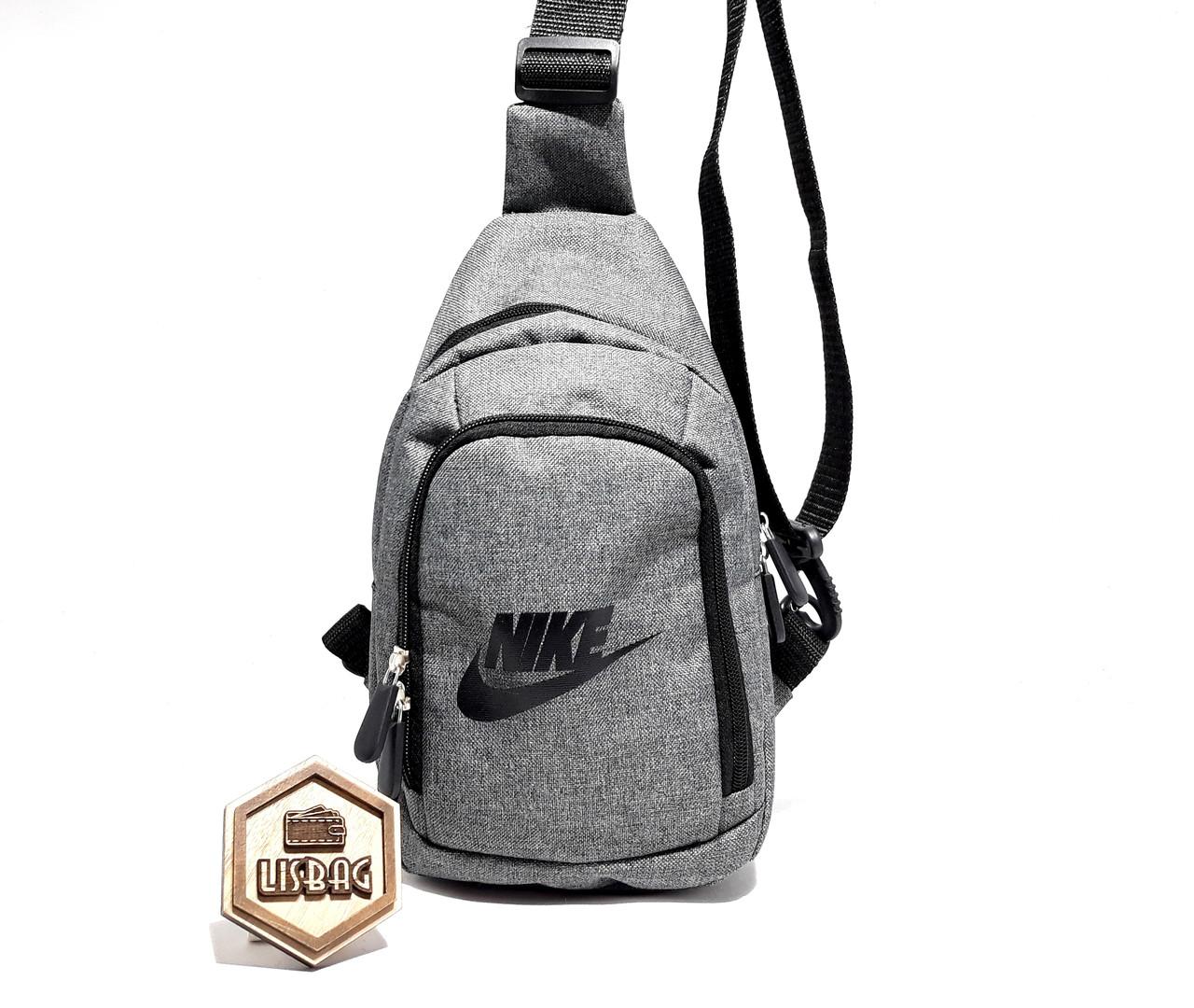 18a400e3 Мужская сумка слинг на грудь, барсетка из оксфорда Nike реплика люкс  качества , Серая