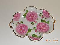 """Фигурная фарфорофая ваза для печенья с ручной росписью """"Розы"""" т насечкой Bona"""