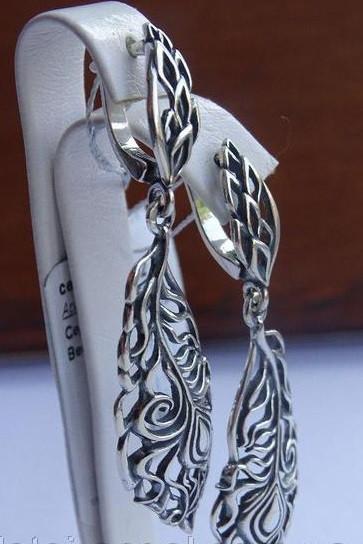 Серебряные винтажные серьги - подвески
