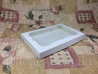 Коробка для печива, пряників, з вікном, 20 см х 30 см х 3 см, мілований картон