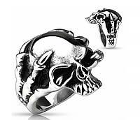 Брутальный мужской перстень с черепом в когтях