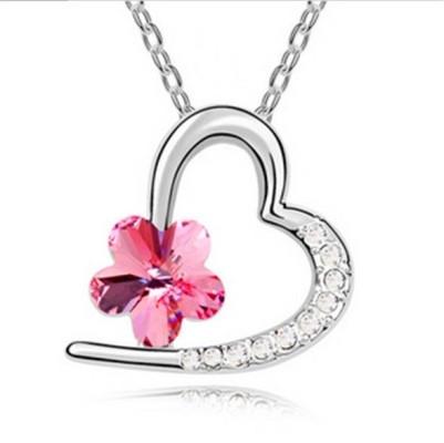 Романтический серебрянный медальон кулон с розовым цвктком