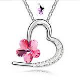 Романтический серебрянный медальон кулон с розовым цвктком, фото 2