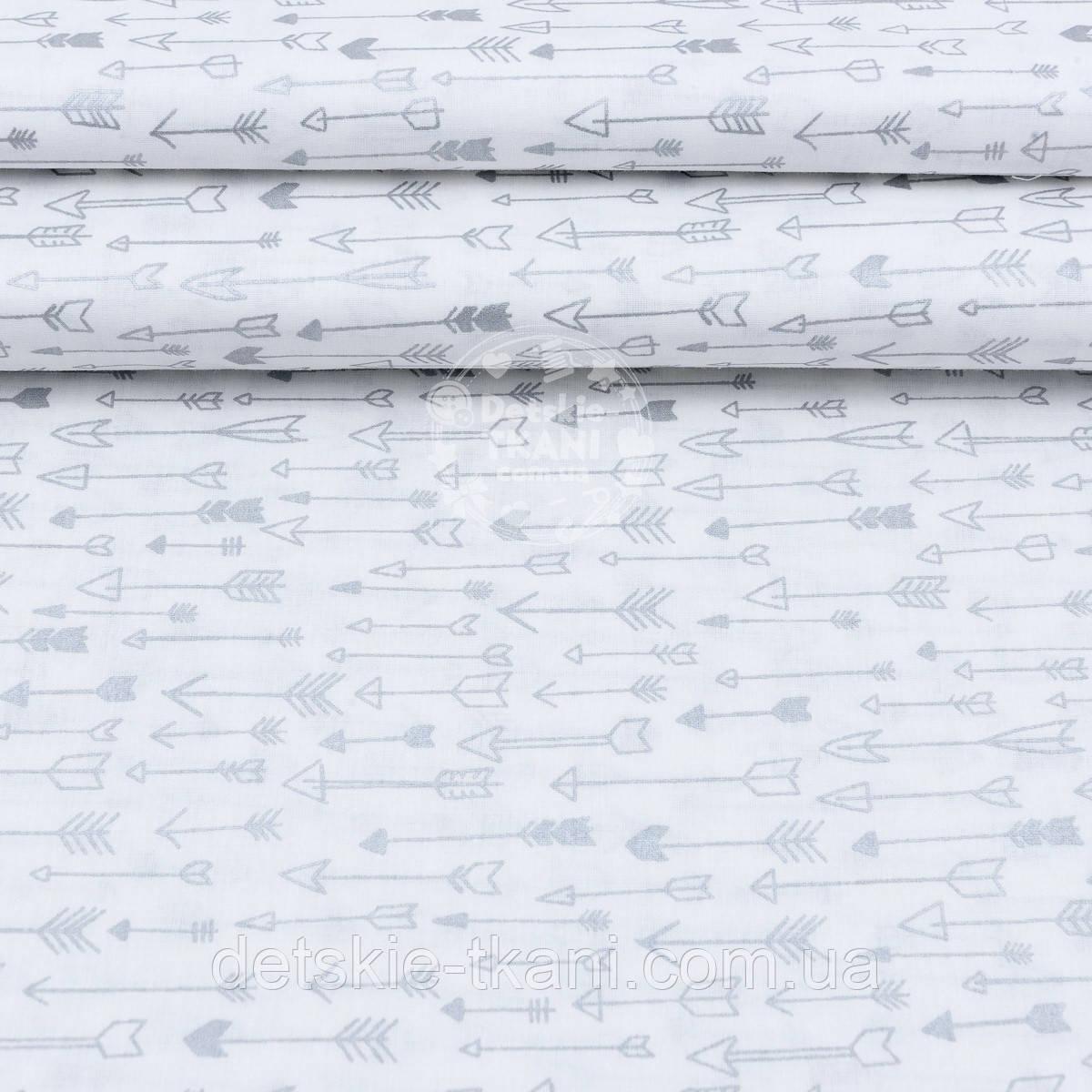 """Поплин шириной 240 см с глиттерным рисунком """"Густые серебряные стрелы"""" на белом (№1673)"""