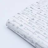 """Поплин шириной 240 см с глиттерным рисунком """"Густые серебряные стрелы"""" на белом (№1673), фото 3"""