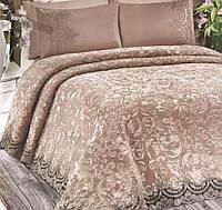 Покрывало-плед  с французским кружевом Estima + постельное белье капучино