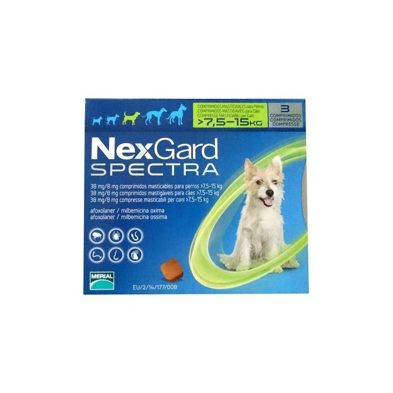 Табл. Merial Nexgard Spectrum Меріал Нексгард Спектра від бліх і глистів для собак 7,5-15кг 1 шт