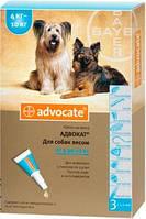 Капли Bayer Advocat Байер Адвакат для собак от блох и глистов 4-10кг