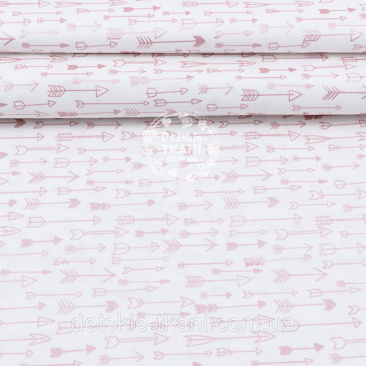 """Поплин шириной 240 см с глиттерным рисунком """"Густые розовые стрелы с перламутром"""" на белом (№1675)"""