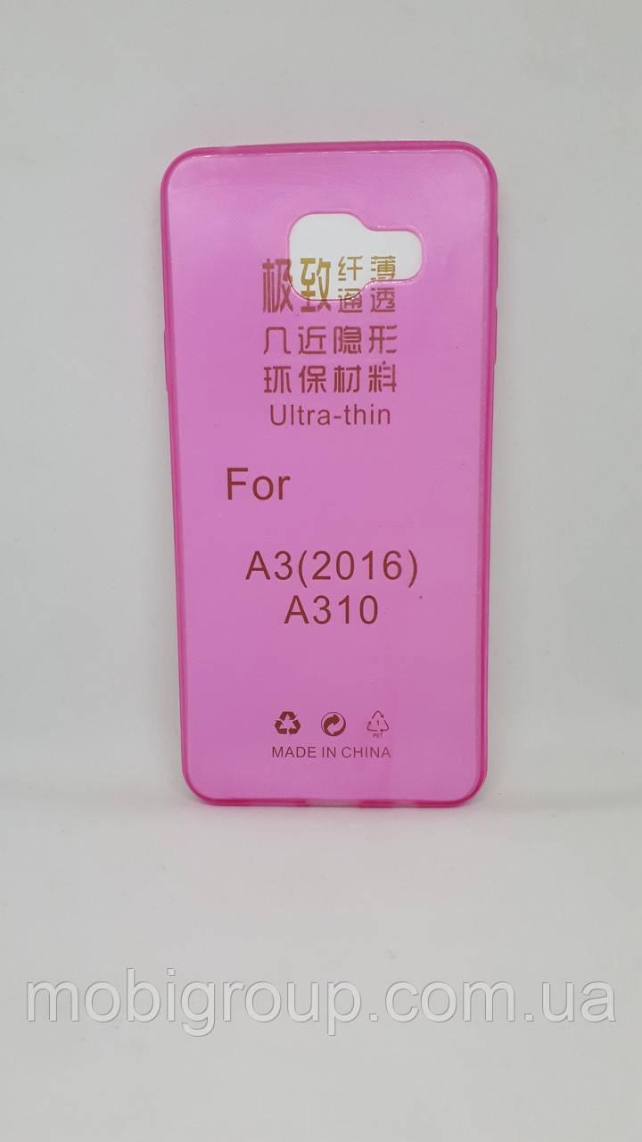 Силиконовый чехол 0,3 мм для Samsung А310 (2016), Pink