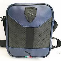 Сумка на пояс кожвинил Ferrari+Puma (синий)18*22см