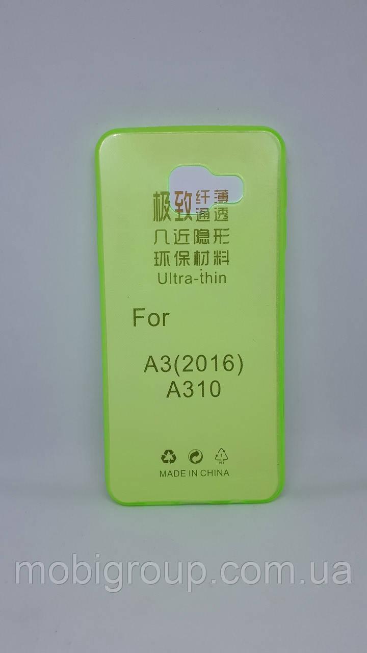 Силиконовый чехол 0,3 мм для Samsung А310 (2016), Green