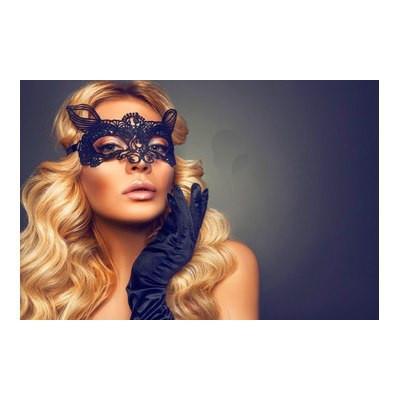 """Кружевная черная маска """"Волчица""""6613"""