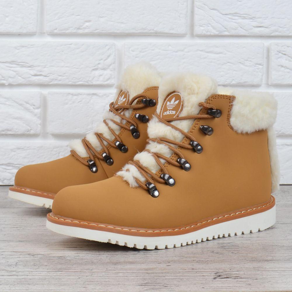 097565b37 Ботинки женские кожаные зимние Adidas Waterproof натуральный мех желтые,  Черный, 37 - MarketShoes -
