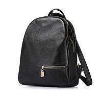 Рюкзак женский  кожаный с карманом (черный), фото 1