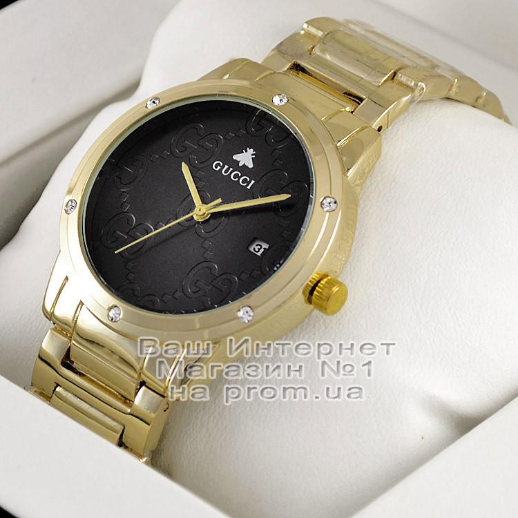 Женские наручные часы Gucci Quartz Gold Black Dimond Гуччи качественная люкс реплика