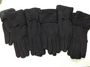 Тёплые черные женские перчатки на меху