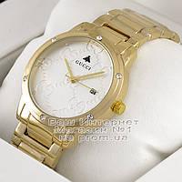 Женские наручные часы Gucci Quartz Gold White Dimond Гуччиачественная премиум реплика