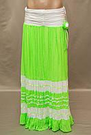 Юбка  Турция в пол длинная шифон плиссированная яркая цвет салатовый, фото 1