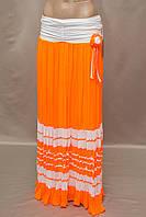 Юбка  Турция в пол длинная шифон плиссированная яркая цвет оранжевый , фото 1