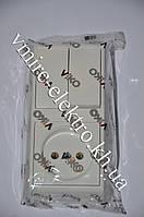 Блок вертикальный двойной выключатель+розетка Viko (Вико) Vera (Вера)