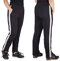 Трикотажные спортивные брюки женские штаны большого размера черные батал