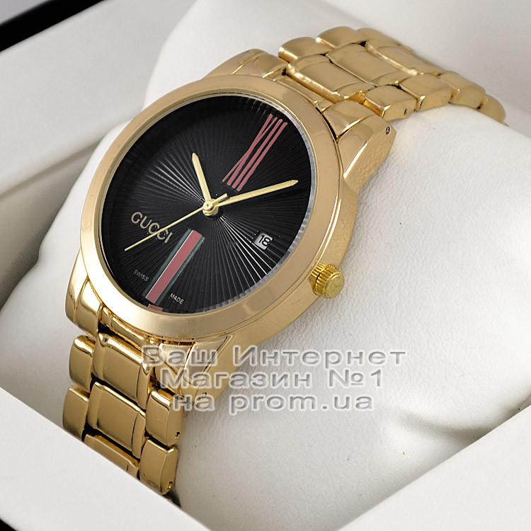 Женские наручные часы Gucci Quartz Gold Black Гуччи качественная люкс реплика