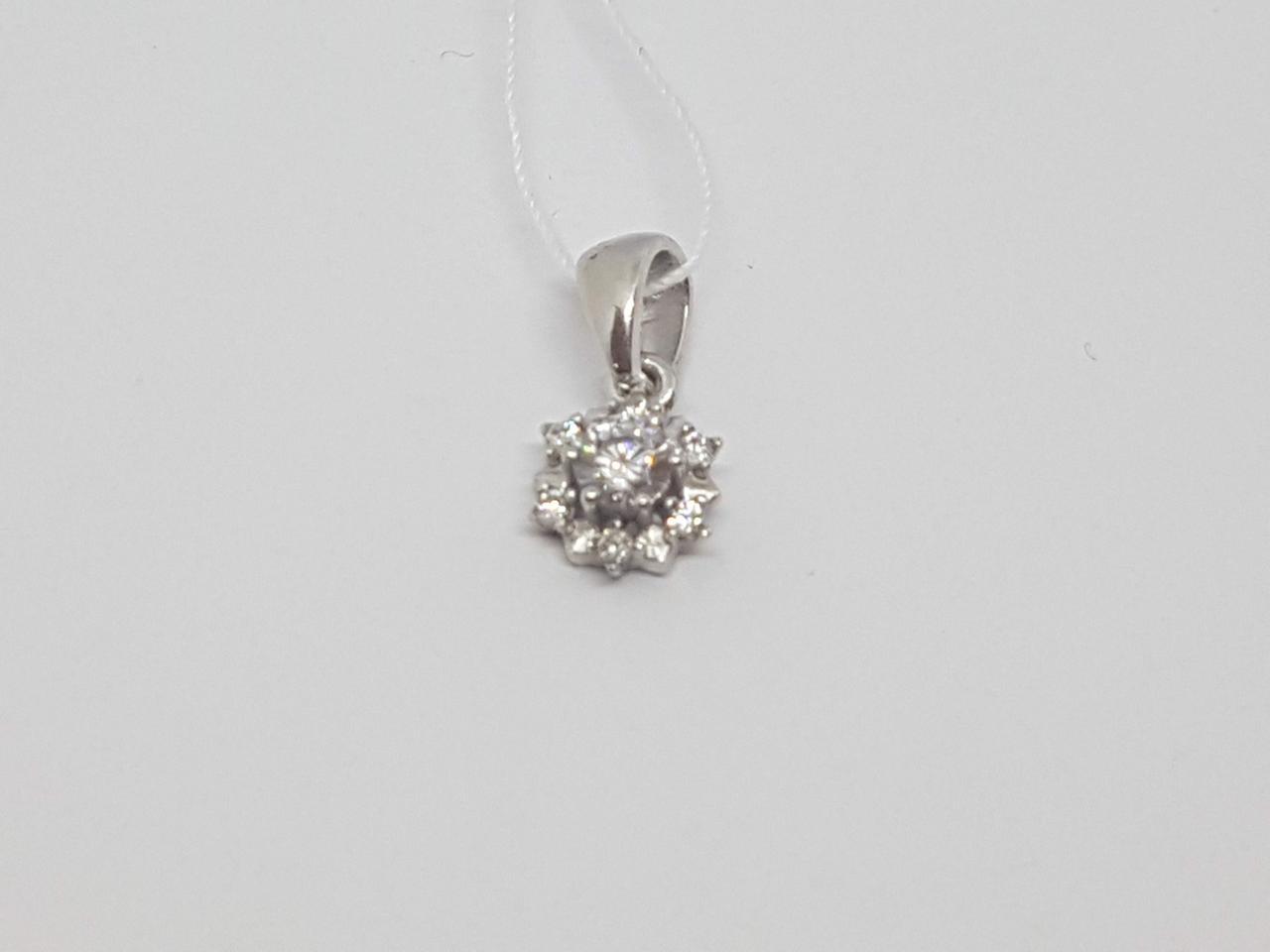 Серебряная подвеска Цветочек с фианитом. Артикул 3790р-CZ