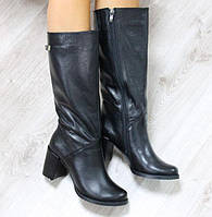 Сапоги женские зимние кожаные чёрные, фото 1