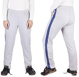 Демісезонні штани жіночі спортивні штани лампасами прямі сірі трикотажні з кишенями