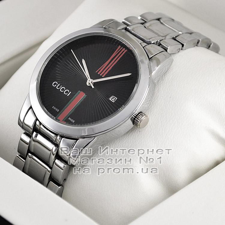 Женские наручные часы Gucci Quartz Silver Black Гуччи качественные люкс реплика
