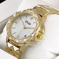 Женские наручные часы Dior Quartz Gold White Dimond Диор качественная премиум реплика
