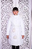 Зимнее пальто «Шейла»,белое на девочку ТМ MANIFIK