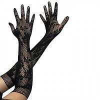 Длинные ажурные черные женские перчатки, размер универсальный. Розница, опт., фото 1
