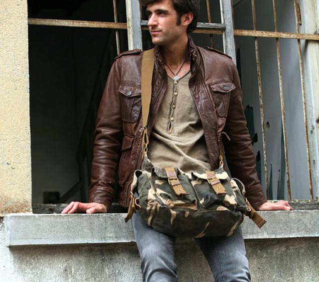Model with men bag virginland color khaki