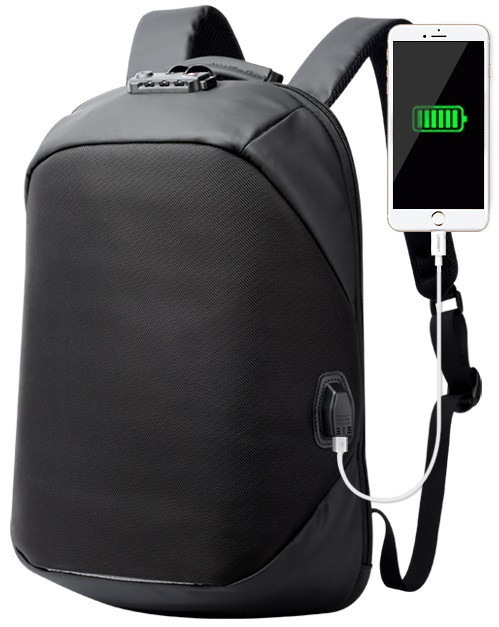 Рюкзак антивор Bopai с USB портом, замком и отделением для ноутбука, черный (751-006271)