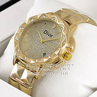 Женские наручные часы Dior Quartz Gold Gold Dimond Диор качественные люкс реплика