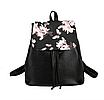 Рюкзак женский кожзам Черный цветочный, фото 2