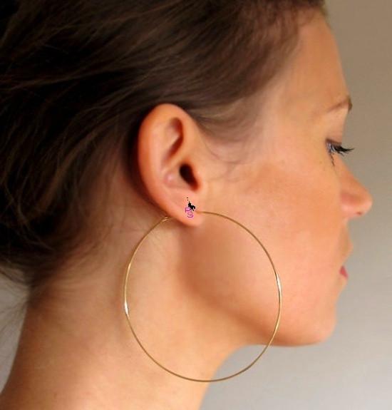Красивые огромные позолоченные серьги-кольца пусеты в ушко ухо сережки металл earrings качество