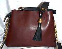 Женская бордовая сумка B Elit из эко-кожи 30*23 см, фото 1