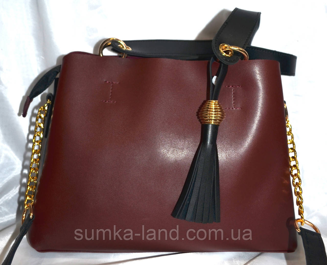 Женская бордовая сумка B Elit из эко-кожи 30*23 см