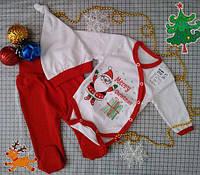 Комплект Счастливого Рождества (Боди, ползунки, шапочка) интерлок пенье, фото 1