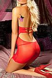 Волшебный ярко-красный кружевной пеньюар-платье, фото 3