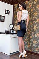 Женская черная облегающая юбка корсет на шнуровке