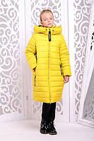 Детское зимние пальто «Ангел», желтое на девочку ТМ MANIFIK