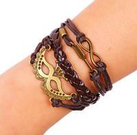 Крутой плетенный кожанный браслет с фенечками