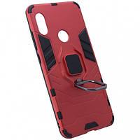 Ударопрочный чехол Transformer Ring под магнитный держатель для Xiaomi Redmi Note 5 Pro/Note 5 (DC) Красный / Dante Red