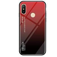 TPU+Glass чехол Gradient HELLO для Xiaomi Redmi S2 Красный